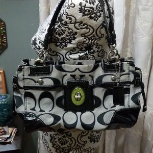 Signature C Series Black & Gray Coach shoulder bag